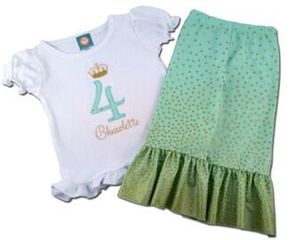 Princess Crown Birthday Shirt with Matching Ruffle Pants