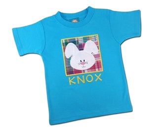 Boy's Easter Bunny Box Shirt with Embroidered Name - M26