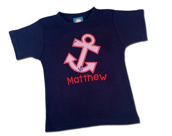 Boy Anchor Shirt with Seersucker Anchor and Embroidered Name