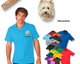 Polo shirt cotton embroidered embroidery dog CAIRN TERRIER + own words