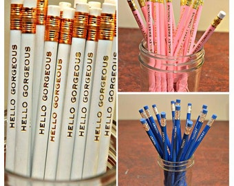 Pencils, Custom Name Pencils, Wedding Favor, Teacher Gift, Personalized Pencils, Engraved Pencils, Stocking Stuffer, Gift Under Twenty