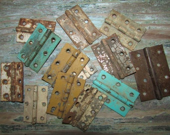 Antique Old Mexican Door Hinges-Lot (20)- Hardware-Assorted-Old Paint-Primitive-Craft Projects