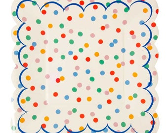 Toot Sweet Spotty Small Plates (Set of 12), Meri Meri Rainbow Polka Dot Party Plates