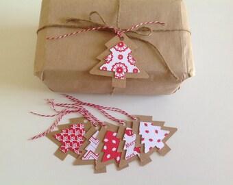 Nordic christmas tree tags, 6 Christmas tags, mixed tag set, 3D Christmas trees,