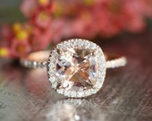 Halo Diamond Morganite Engagement Ring in 14k Rose Gold Pave Diamond Wedding Band 8x8mm Cushion Cut Gemstone Ring (Wedding Set Available)