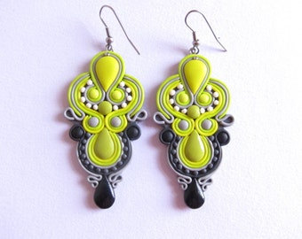 Lime Green Earrings, Lemon Yellow Earrings, Lemon Earrings, Lime Earrings, Chandelier Earrings, Bridesmaid Earrings, Bridesmaid Jewelry Fimo