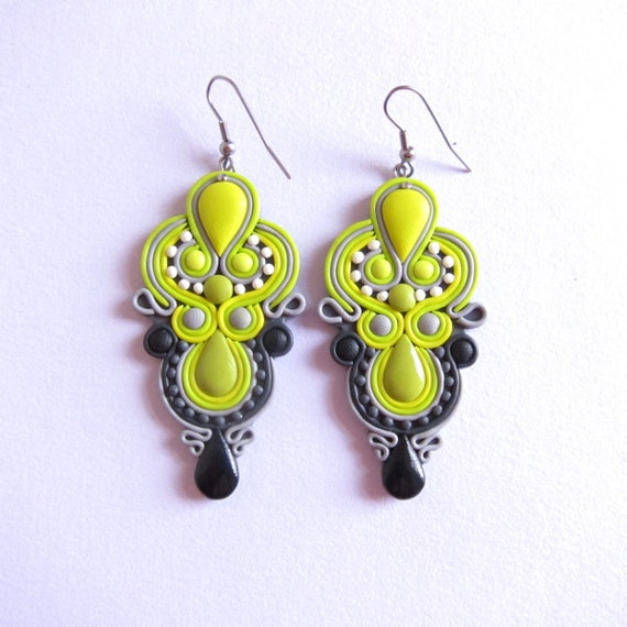 Grey Colour Earrings: Polymer Clay Earrings Neon Dangle Earrings Lime Green By