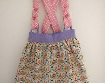House print skirt, braces skirt, straps skirt, elasticated skirt, baby skirt, toddler skirt, girls skirt, sporry skirt