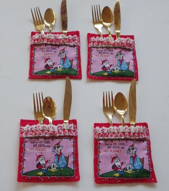 Holiday utensil holder christmas flatware and