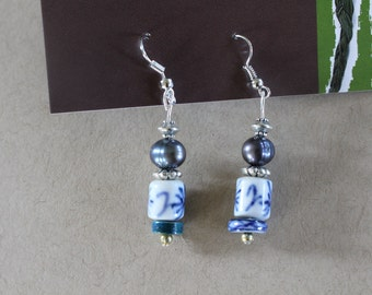 White and blue china earrings