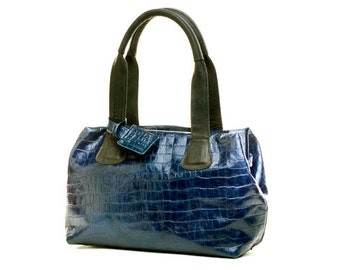 Sale!!! Embossed blue leather handbag, small leather bag, Leather handbag handmade, blue leather purse, Limor Galili bag