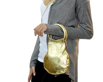 Sale!!!  Gold leather evening Bag, Gold Clutch Handbag, gold leather handbag, small mini bag
