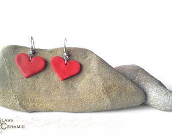 Happy Valentine's day!!! Unique Red Heart Earrings