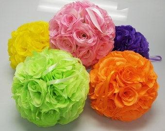 Silk Flower  Kissing Balls Centerpiece, 10-inch
