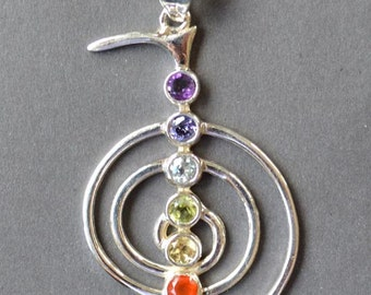 Reiki Chakra Pendant - Handmade in Sterling Silver with 7 Natural Gems
