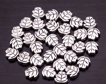 100pcs silver leaf beads spacers A4927R