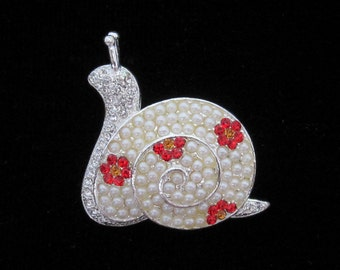 Crystal Snail Brooch Pin Silver Tone Red Topaz Faux Cream Pearl