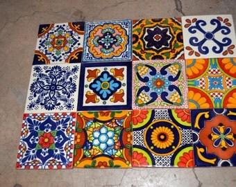 """12 Mexican tiles mixed 4x4"""""""