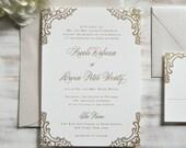 The Nicole Suite | Metallic Foil Lace Letterpress Invitation SAMPLE