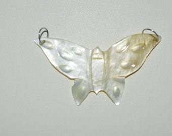 1960's Vintage Authentic Carved Mother of Pearl Butterfly Charm/Pendant - 1 Piece(1060090)
