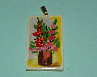 Vintage Hand Painted Floral Bone Pendant (1060233)
