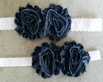 Denim Rosette Infant Headband.