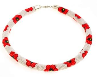 Jewelry Necklace Handmade Bead crochet rope necklace  Beaded rope necklace
