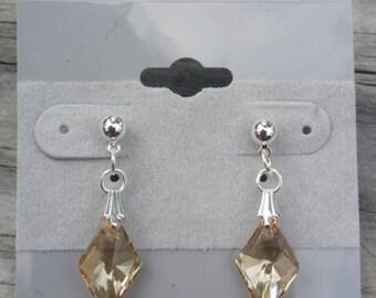 Golden Shadow Rhombus Swarovski Crystal post earrings