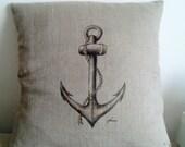 Golden Anchor hand painted pillow case, Natur linen cushin cover, Nautical pillow, Mediterranean motif pillow, Boat pillow, Unique pillow