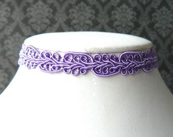 Lavender Choker, Orchid Lace Choker, Lilac Vintage Style Choker, Victorian Inspired Ribbon Necklace, Pale Purple Plain Chocker