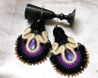 Purple gold Soutache earrings with, Dangle Soutache Earrings, Soutache Earrings
