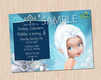 Tinker Bell and the Secret of the Wings Periwinkle Blue Frost Snow Fairy Birthday Party Invitation Printable