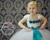 Teal Flower Girl Dress, Teal Dress, Flower Girl Tutu Dress, Pageant Dress, First Birthday Tutu, 2 Week Production Time
