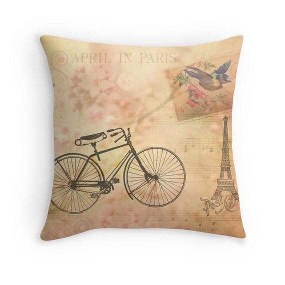 Paris Decor Eiffel Tower Decor Pink Pillow Cover Pink