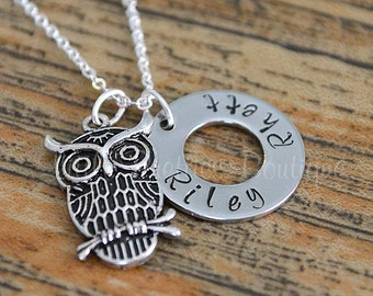 Owl Necklace with Names, Owl Charm Necklace, Personalized, Hand Stamped, Mother's Jewelry