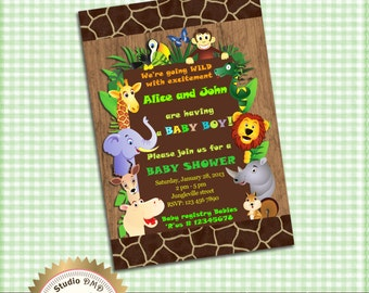 Jungle Animals Safari Baby Shower Invitation, Baby Boy, Boy Baby Shower Invitation, Safari Invitation - Printable DIY