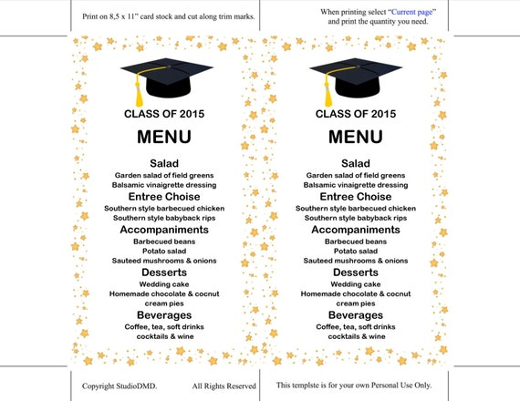 Printable Menu Card Template Graduation Dinner Menu