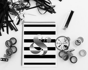 Striped Print with Silver Mirrored Ampersand