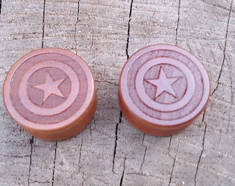 Captain America Avengers Shield Ear Gauges/ Plugs Real Wood sizes are in MM 10, 12, 14, 16, 18, 20, 22, 24, 26, 28 MM DD