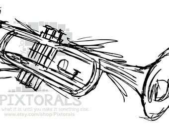 Trumpet!  EPS file (Vector), jpeg, png, fun, sketchy, Music, Music Instrument