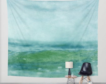 ocean tapestry, large size wall art, wall decor, sea tapestry, ocean, water green mint turquoise teal blue art