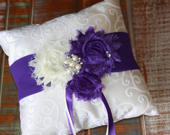 Ring Bearer Pillow, Purple Ring Bearer Pillow, Shabby Chic Ring Bearer Pillow, Purple Ring Pillow, YOUR CHOICE COLOR