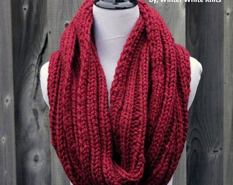 Knit scarf, Knit infinity scarf, Chunky knit scarf, Red winter scarf, Circle loop scarf, knit cowl scarf, 16 colors available, soft and cozy