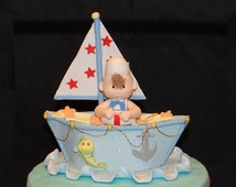 Nautical First Birthday, Nautical Boy Baby Shower, Sailor Birthday Party, Nautical Boy Shower, Sailor in Blue Boat Cake Topper, Baby Sailor
