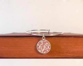 Solid Sterling Silver Adjustable Bangle Bracelet with Japanese Washi Cherry Blossom Silver Charm