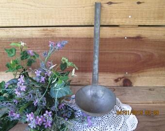 Large Antique Tin Water Soup Ladle