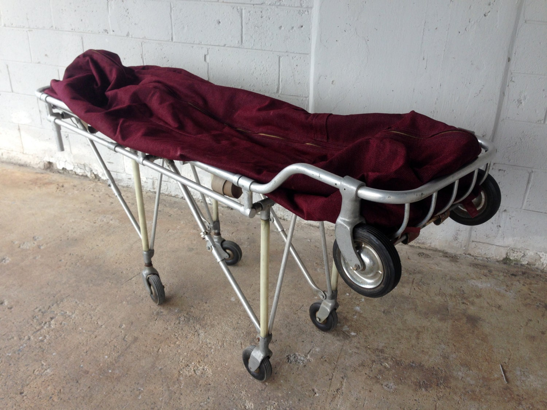Antique Rescued Funeral Home Stretcher Vintage Body Bag Cart