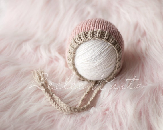 Pattern - Strawberries and Cream Newborn Knit Bonnet Pattern