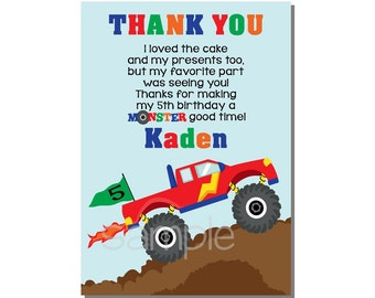 Monster Truck Thank You Card Birthday Party - DIGITAL or PRINTED