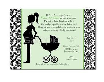 Damask Baby Shower Sprinkle Invitation Green - DIGITAL or PRINTED